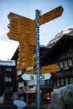 Signage in Zermatt Stockbild