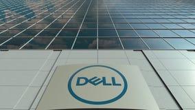 Signagebräde med Dell Inc logo modernt kontor för byggnadsfacade Redaktörs- tolkning 3D Royaltyfri Fotografi