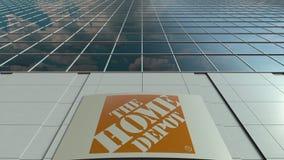 Signagebräde med den Home Depot logoen modernt kontor för byggnadsfacade Redaktörs- tolkning 3D Royaltyfria Bilder