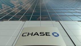 Signagebräde med den JPMorgan Chase Bank logoen modernt kontor för byggnadsfacade Redaktörs- tolkning 3D Fotografering för Bildbyråer