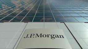 Signagebräde med J P Morgan logo modernt kontor för byggnadsfacade Redaktörs- tolkning 3D Royaltyfri Foto