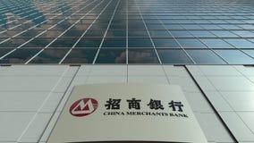 Signagebräde med logo för Kina köpmanbank modernt kontor för byggnadsfacade Redaktörs- tolkning 3D Royaltyfri Fotografi