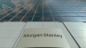 Signagebräde med Morgan Stanley Inc logo modernt kontor för byggnadsfacade Redaktörs- tolkning 3D Arkivbild
