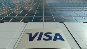 Signagebräde med visumet Inc logo modernt kontor för byggnadsfacade Redaktörs- tolkning 3D Royaltyfri Foto
