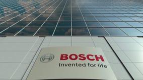 Signagebrett mit Robert Bosch-GmbHlogo Moderne Bürogebäudefassaden-Zeitspanne Redaktionelle Wiedergabe 3D stock video footage