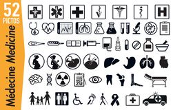 52 signagepictograms på medicin- och hälsokryp stock illustrationer