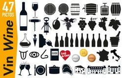 47 Signagepiktogramme auf Wein und Weinstock vektor abbildung
