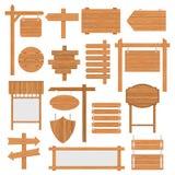 Signages en bois réglés illustration de vecteur