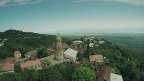 Signagi城堡教会高加索山脉河白种人秀丽自然乔治亚动物waterwall寄生虫4k 影视素材
