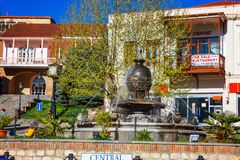 Central square in Sighnaghi is a popular touristic destination in Georgia and also the capital of wine and carpet indusry. Signagi, Georgia - 20 April, 2017 Stock Photography