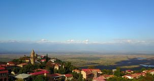 Signagi Or Sighnaghi City. View on the Alazan Valley By Aerial Drone. Georgia, Kakheti. Signagi Or Sighnaghi City In Kakheti Region In Georgia. View on the stock footage