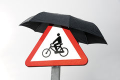 Signal. Of traffic with an umbrella Stock Photo