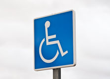 Signal. Reserved parking sign for handicapped stock photography