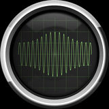 Signal with amplitude modulation on the oscilloscope screen in g Stock Images