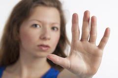 signal av stoppkvinnan Fotografering för Bildbyråer