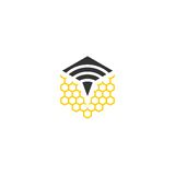 Signal bee vector logo Stock Image