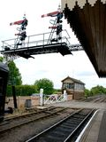 Nene Valley Railway. Signal Box and semaphore signal gantry at Wansford Station at Nene Valley railway stock images