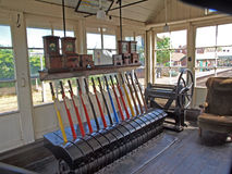 Signal box at Sheringhan station. Numbered and coloured levers in the signal box at Sheringhan station. The line from Holt to Cromer opened on 16th June 1887 Stock Image