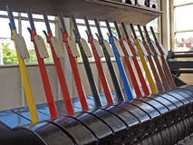 Signal box at Sheringhan station. Numbered and coloured levers in the signal box at Sheringhan station. The line from Holt to Cromer opened on 16th June 1887 Stock Images