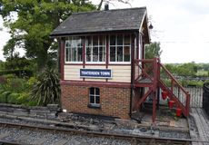 Signal box at Tenterdon Railway Station. Fire Buckets Steps Tree and Railway lines Stock Photos