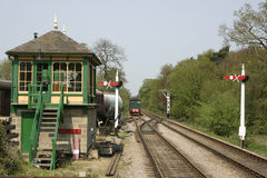 Signal box and train tracks Stock Photography