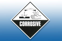 Signal d'avertissement de risque - corrosif illustration de vecteur