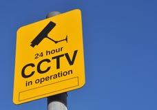 Signal d'avertissement de télévision en circuit fermé Photographie stock libre de droits
