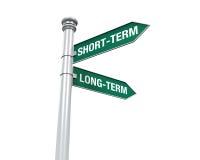Signal de direction d'à court terme et d'à long terme Photo stock