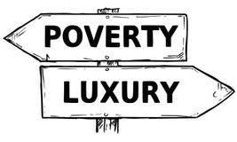Signal de direction de vecteur de bande dessinée avec la pauvreté a de deux flèches de décision illustration libre de droits