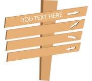 Signal de direction en bois Photo libre de droits