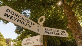 Signal de direction de nom de route de Dorset de l'anglais A Image stock