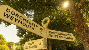 Signal de direction de nom de route de Dorset de l'anglais B Photos libres de droits