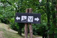 Signal de direction, parc national de Plitvice, Croatie Image libre de droits