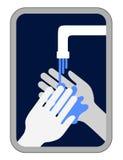 Signal de mains de lavage Photographie stock