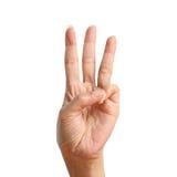 Signal drei heben oben an und eigenhändig machen Stockbild