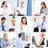 signal för 6 bilder för affärscollagegreen Samling av foto om kommunikation och kontorsarbetare Arkivbilder