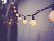 Signal för tappning för festival för ljusgarneringhändelse utomhus- arkivbild