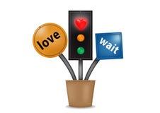 Signal för väntan för hjärtaljusförälskelse Arkivfoton