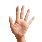 Signal fem lyfter upp och att göra vid handen Royaltyfri Fotografi