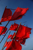 Signal flags. Collected fisherman`s signal  flags flutter in the wind Royalty Free Stock Photos