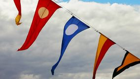 Signal flags on navy ship stock video