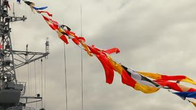 Signal flags on navy ship stock footage