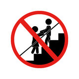 Signal forbidden to play on the stairs Royalty Free Stock Image