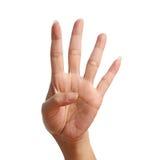 Signal fyra lyfter upp och att göra vid handen Arkivbilder