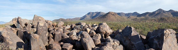 Signal Hill. Petroglyphs on Signal Hill in Saguaro National Park Stock Photos