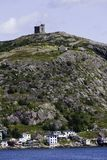 Signal Hill and the battery in St. John`s harbour. stock photo