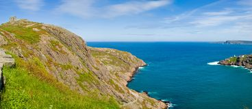 Signal Hill and Fort Amherst, St-John's. Signal Hill and Fort Amherst at the entrance of St-John's harbour, St. John's, Newfoundland royalty free stock photos