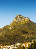Signal Hill Over Cape Town, South Africa. Signal Hill landmark looms over Cape Town in South Africa Stock Images