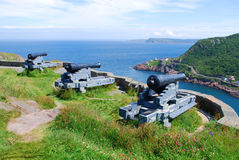 Signal Hill in St. John's. Cannons on a Signal Hill, Newfoundland Canada Royalty Free Stock Photo