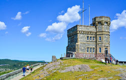 Signal Hill on summer day.  Coastline and cliffs of a Canadian National Historic Site in St John's Newfoundland, Canada. Radio communications tower, Signal Hill Royalty Free Stock Photo